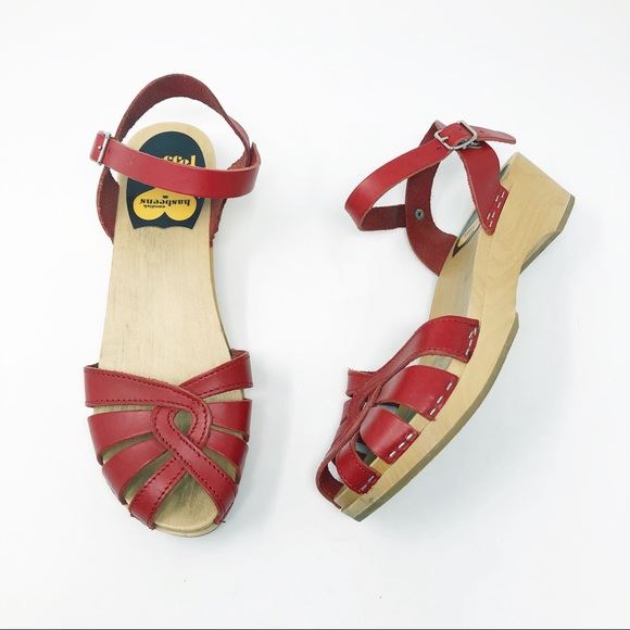 Swedish Hasbeens Debutant Wooden Clog Sandals
